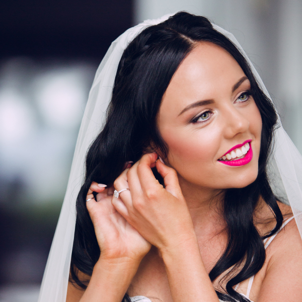 Bridal makeup, hot pink lips